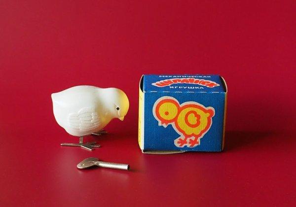 画像1: ソヴィエト セルロイドひよこのゼンマイおもちゃ ボックス入り
